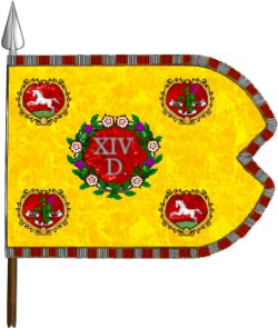 Regimental Guidon of the 14th Dragoons in 1758. Plate created and contributed by Richard Couture from a template by [https://www.europeanheraldry.org/ PMPdeL]